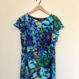Anthropologie Donna Morgan watercolor silk dress